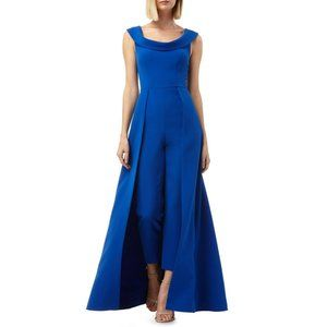 Kay Unger Sapphire Blue Walk Through Gown Jumpsuit